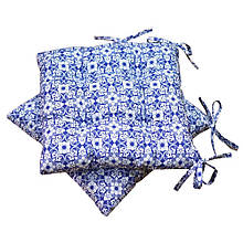 Подушка на стул узор на синем
