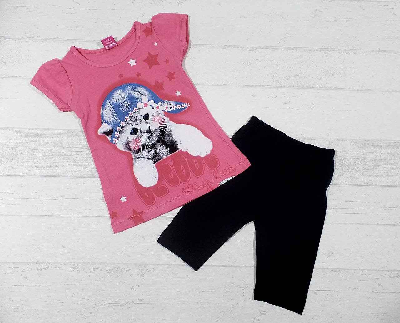 """Детская одежда оптом.Туника с бриджами """" Sweet cat """" 3,4,5,6 лет"""