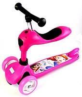 Трехколесный самокат-трансформер 2 в 1. Scale Sports. Disney. Pink, фото 1