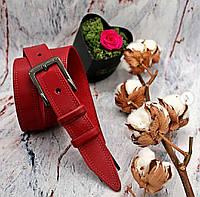 Женский кожаный ремень 30 мм красный