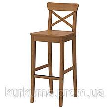 IKEA INGOLF Барный стул со спинкой, патине пятно  (902.178.11)