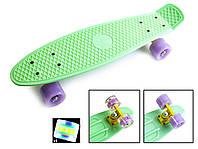 Скейт Penny Board 22 Мятный цвет. Светящиеся колеса. (Пенни борд), фото 1
