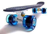 Скейт Penny Board 22 Темно-синий цвет Синие колеса (Пенни борд), фото 1