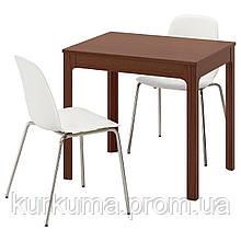 IKEA EKEDALEN/LEIFARNE Стол и 2 стула, коричневый, белый  (992.214.32)