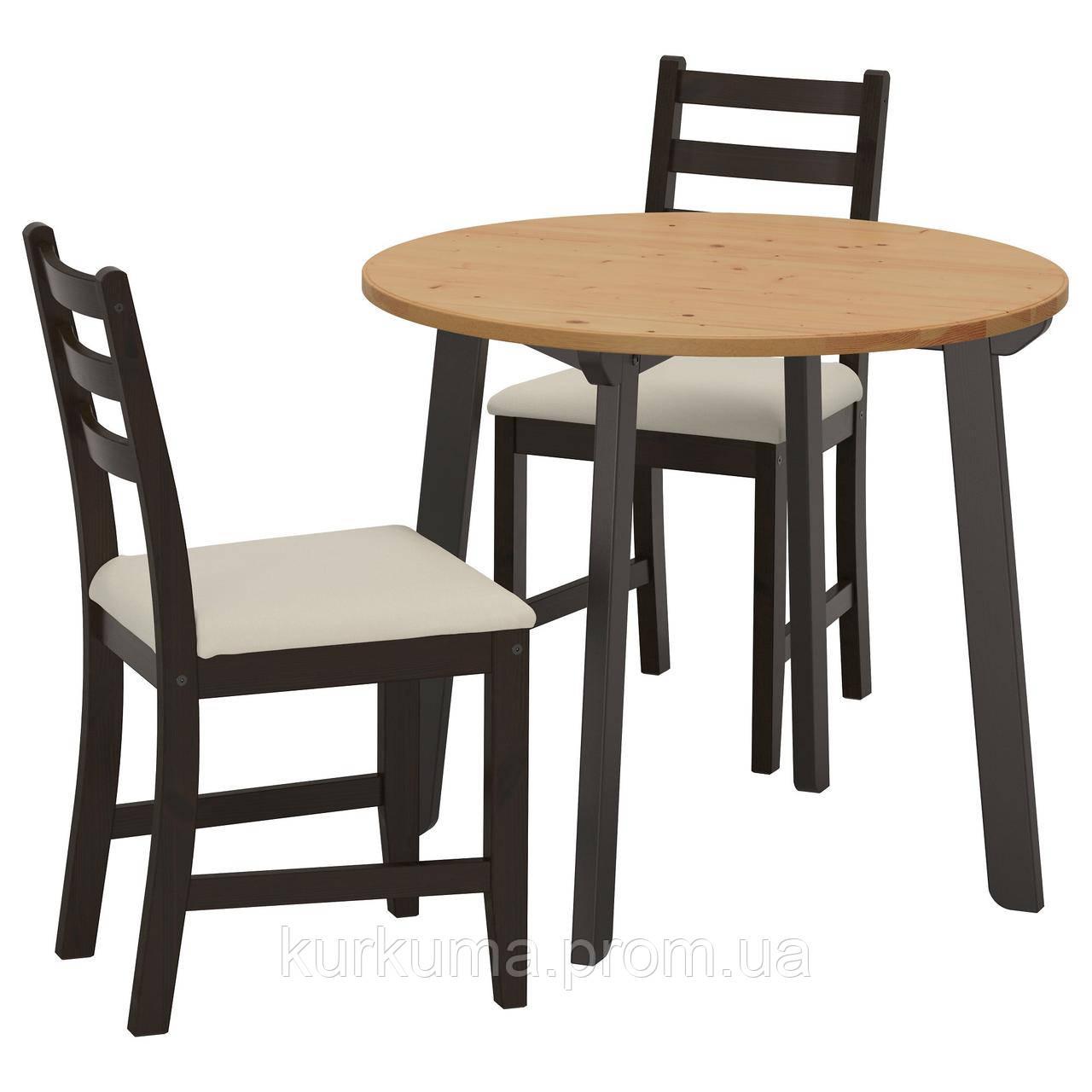 IKEA GAMLARED/LERHAMN Стол и 2 стула, светлый патина черно-коричневый, Vittaryd (792.211.69)