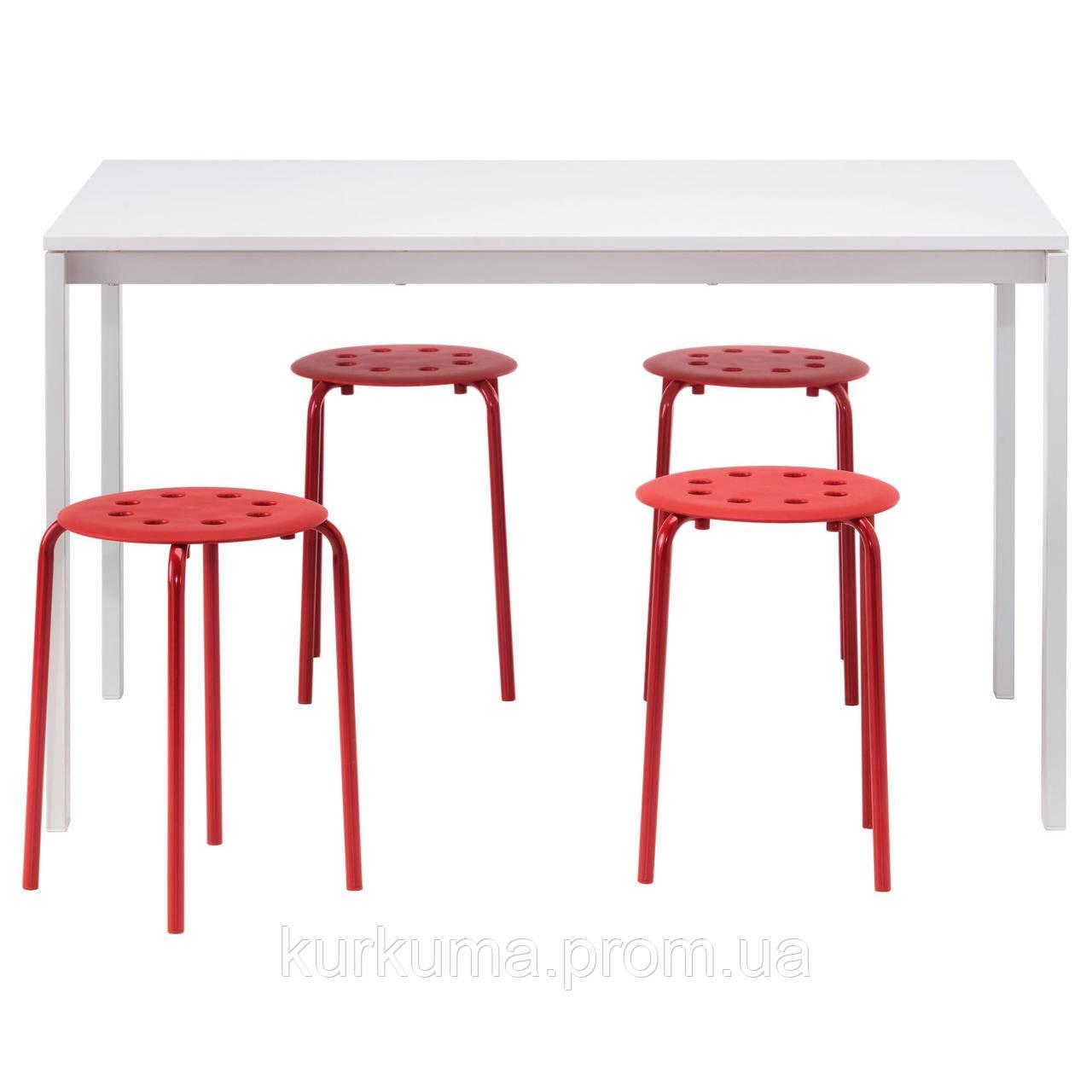 IKEA MELLTORP/MARIUS Стол и 4 стула, белый, красный  (090.107.02)