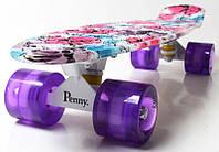 """Скейт Penny Board 22 с рисунком """"Flowers chamomile"""" Светящиеся колеса. Пенни борд, фото 1"""