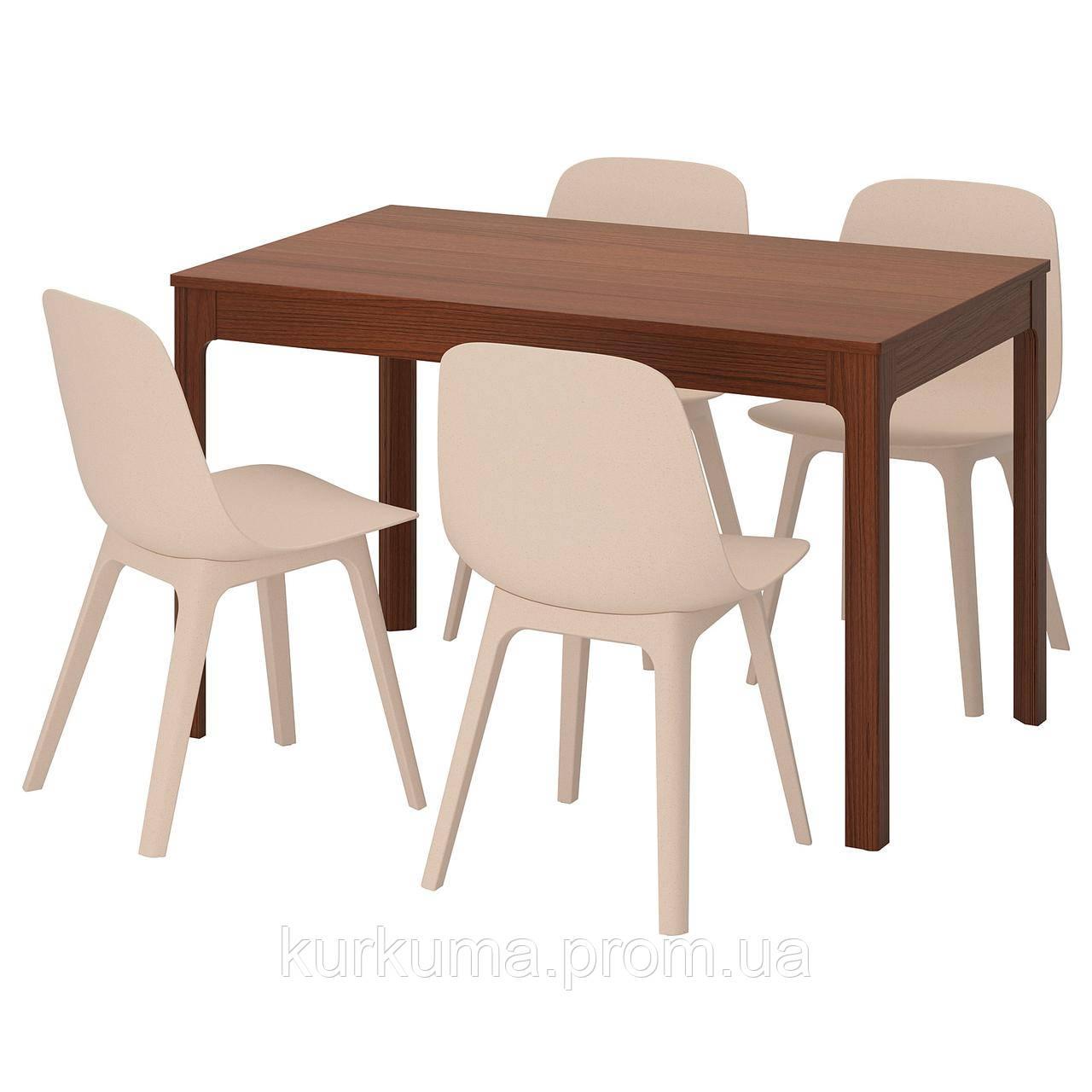 IKEA EKEDALEN/ODGER Стол и 4 стула, коричневый, белый бежевый  (692.214.38)