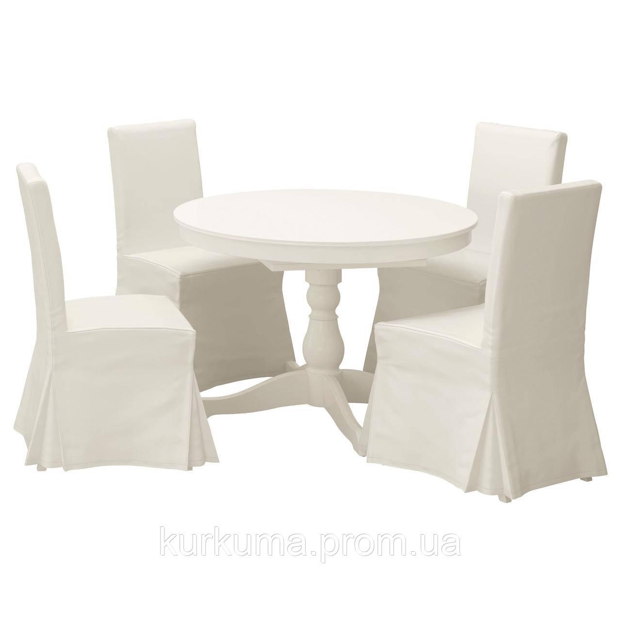 IKEA INGATORP/HENRIKSDAL Стол и 4 стула, белый, Блекинге белый  (091.615.69)