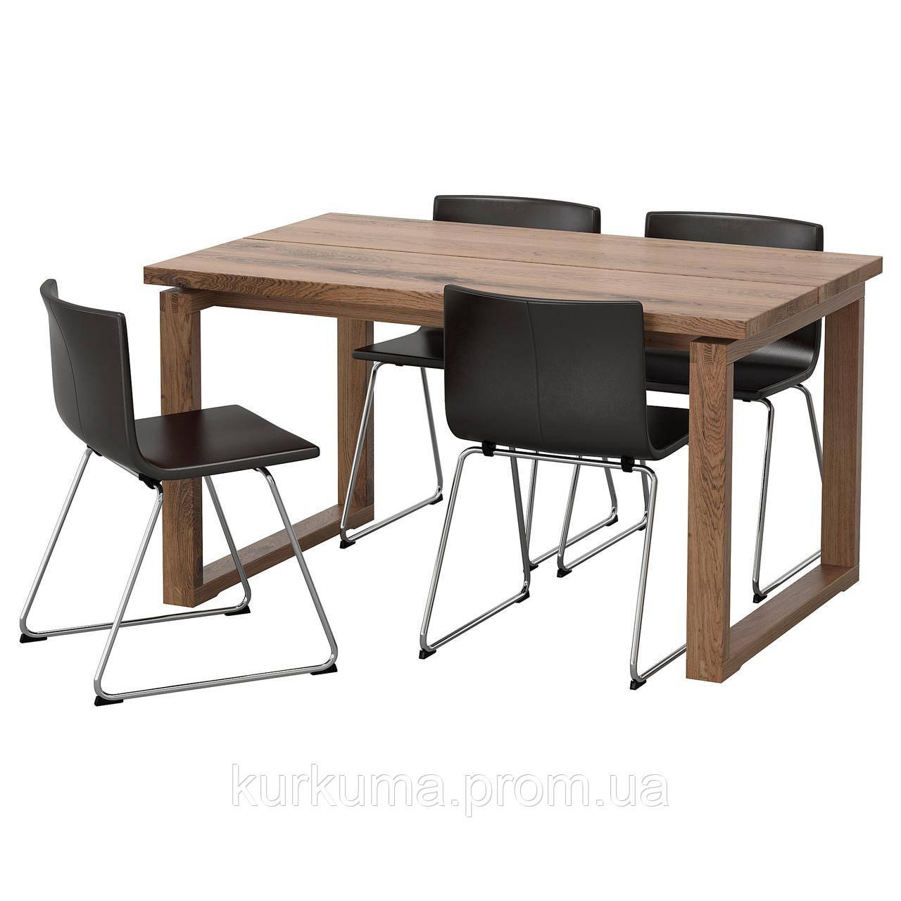 IKEA MORBYLANGA/BERNHARD Стол и 4 стула, коричневый, мжук темно-коричневый  (092.460.88)
