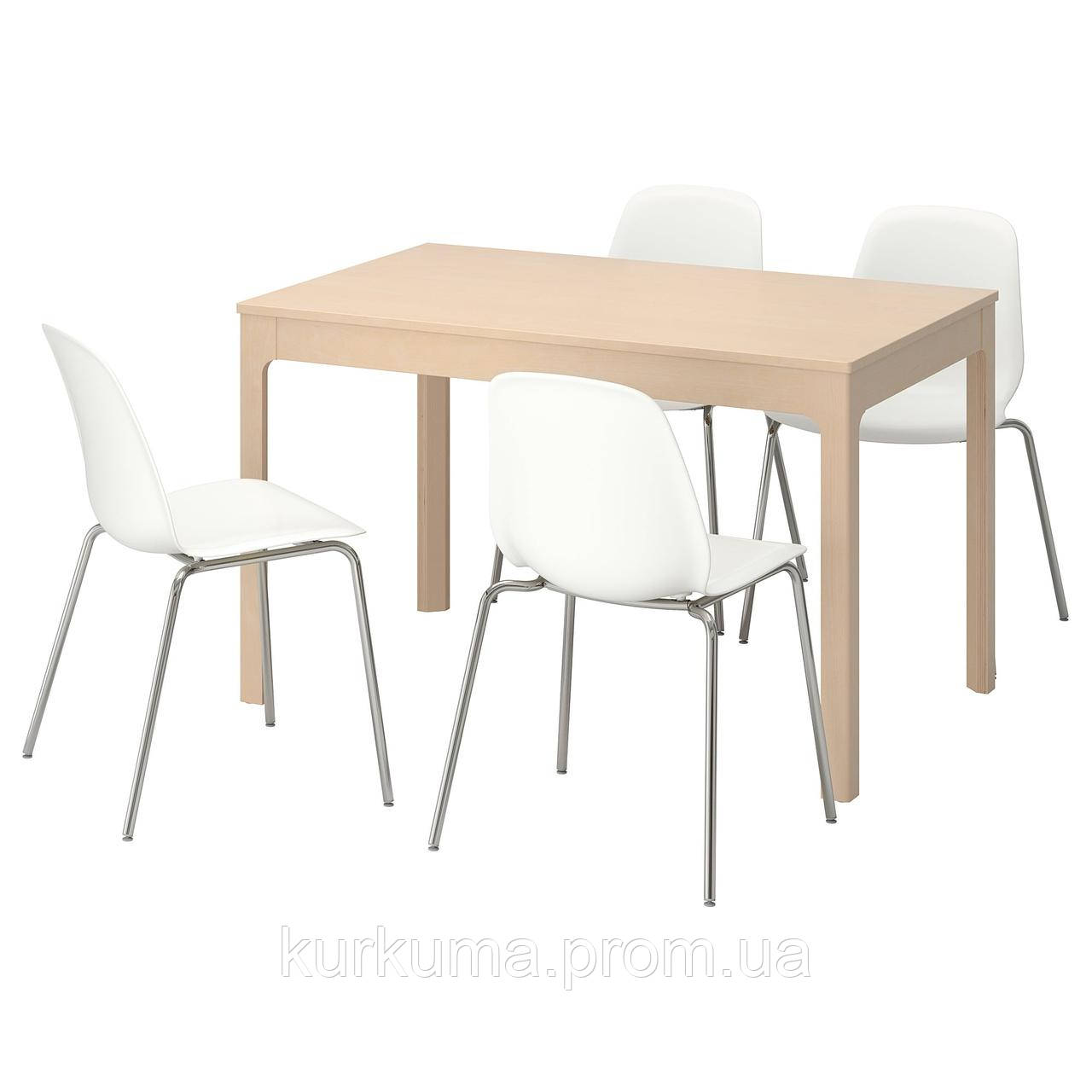 IKEA EKEDALEN/LEIFARNE Стол и 4 стула, береза, белый  (392.298.41)