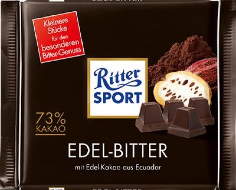 Черный шоколад Риттер Спорт 73% какао. 100гр. Ritter Sport Edel-Bitter.