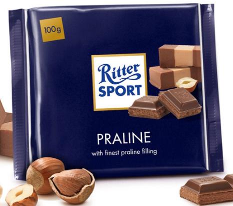 Шоколад Ritter Sport NUGAT ( НУГА , ПРАЛИНЕ) Германия 100г
