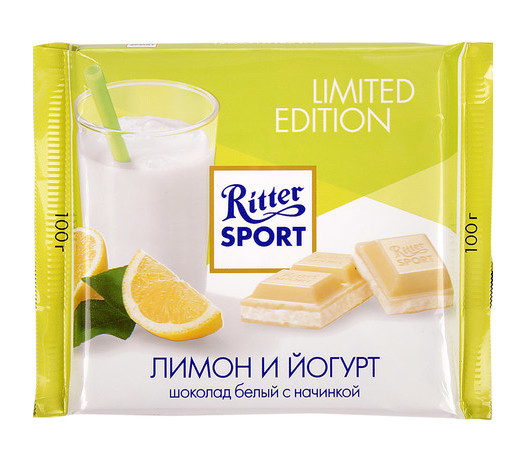 Шоколад Ritter Sport Buttermilk Lemon (йогурт + лимон), 100 г. Германия
