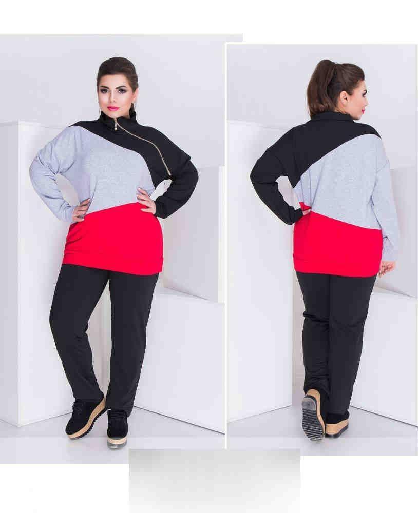"Трикотажный женский спортивный костюм с кармашками ткань: "" Мягкий Трикотаж "" 50 размер батал"