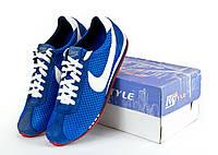 Кроссовки мужские Nike Cortez , голубые | сетка + замша (40, 41)