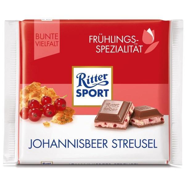 Шоколад Ritter Sport  johannisbeer streusel (с красной смородиной и хлопьями) 100 г. Германия