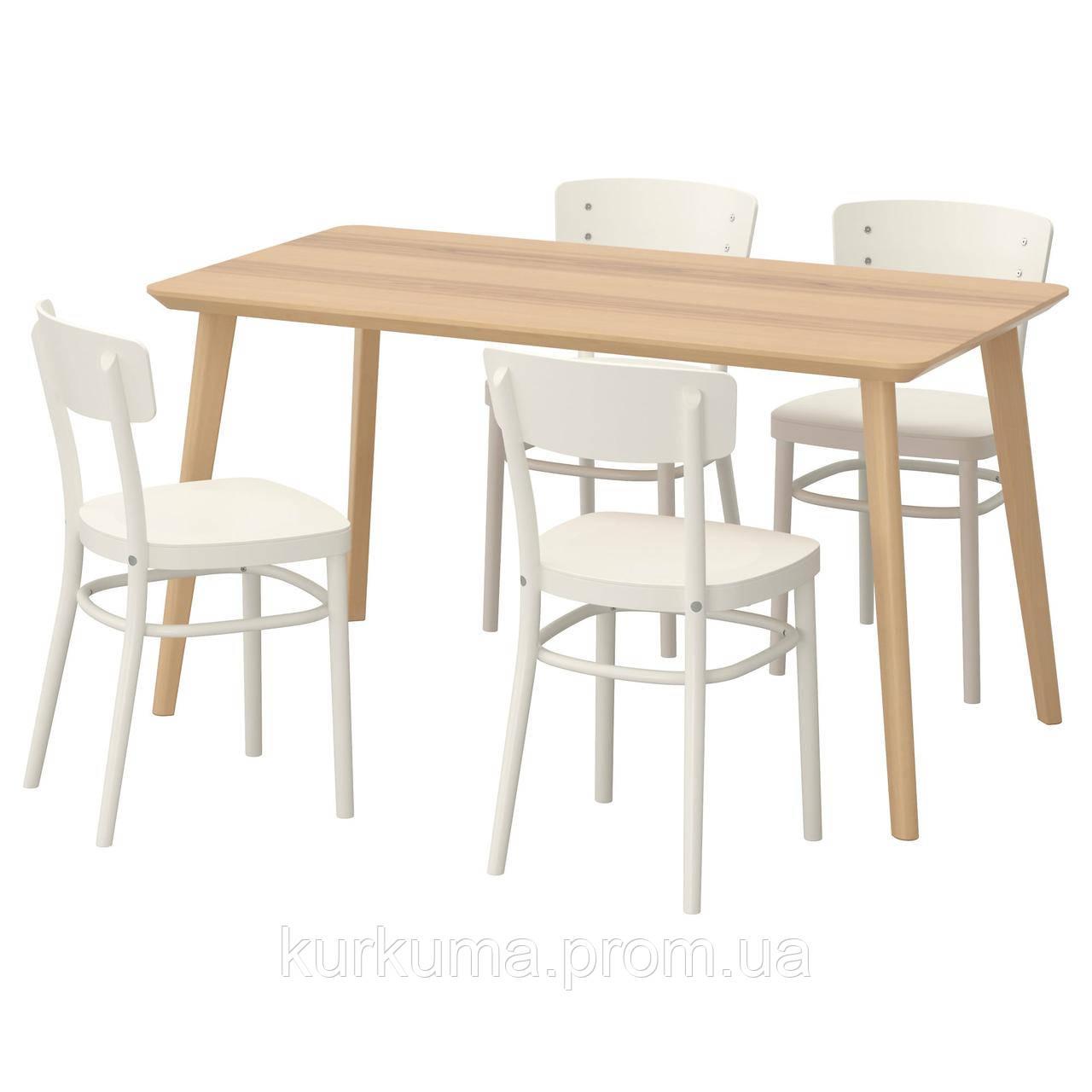 IKEA LISABO/IDOLF Стол и 4 стула, ясень шпон, белый  (491.614.83)