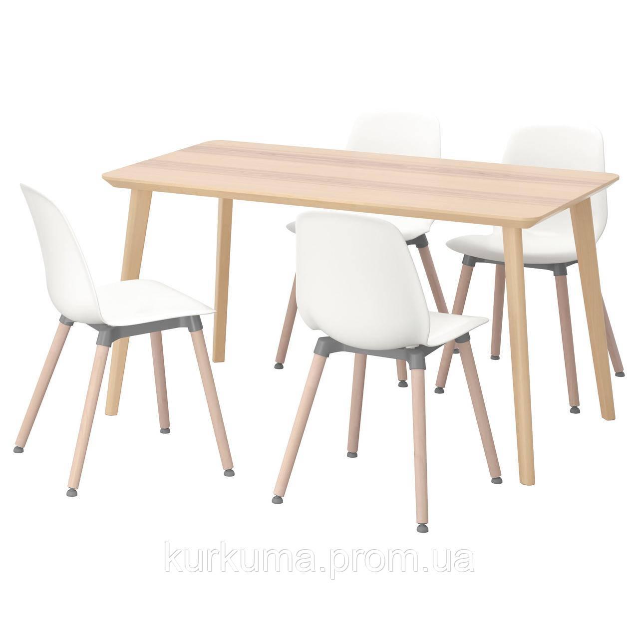IKEA LISABO/LEIFARNE Стол и 4 стула, ясень шпон, белый  (291.614.84)