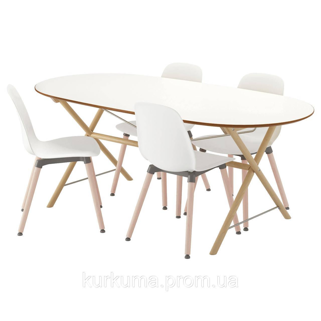 IKEA SLAHULT/DALSHULT/LEIFARNE Стол и 4 стула, береза, белый  (191.305.01)