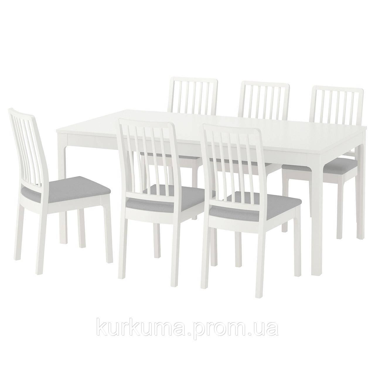 IKEA EKEDALEN/EKEDALEN Стол и 6 стульев, белый, Оррста светло-серый  (192.213.51)