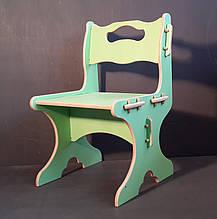 """Дитячий стільчик з дерева """"24см"""" (2-4 роки) Зелений"""