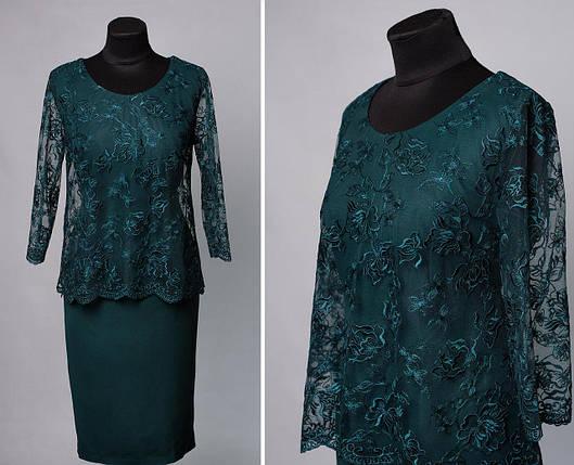 """Элегантное женское платье с вшитой накидкой бутылка, ткань """"Костюмная"""" Турция 50 размер батал, фото 2"""