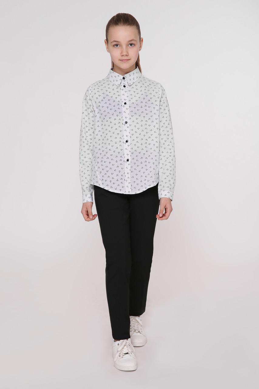Рубашка детская Татьяна Филатова модель 241 белая с якорями