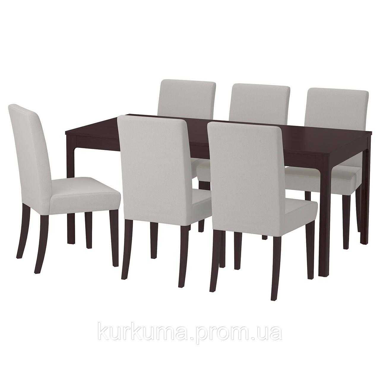 IKEA EKEDALEN/HENRIKSDAL Стол и 6 стульев, темно-коричневый, Оррста светло-серый  (492.292.61)