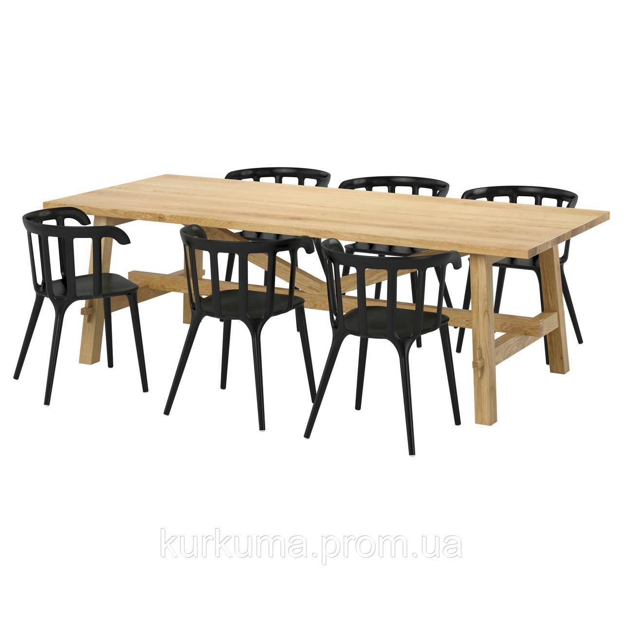 IKEA MOCKELBY/IKEAPS2012 Стол и 6 стульев, дуб, черный  (991.317.90)