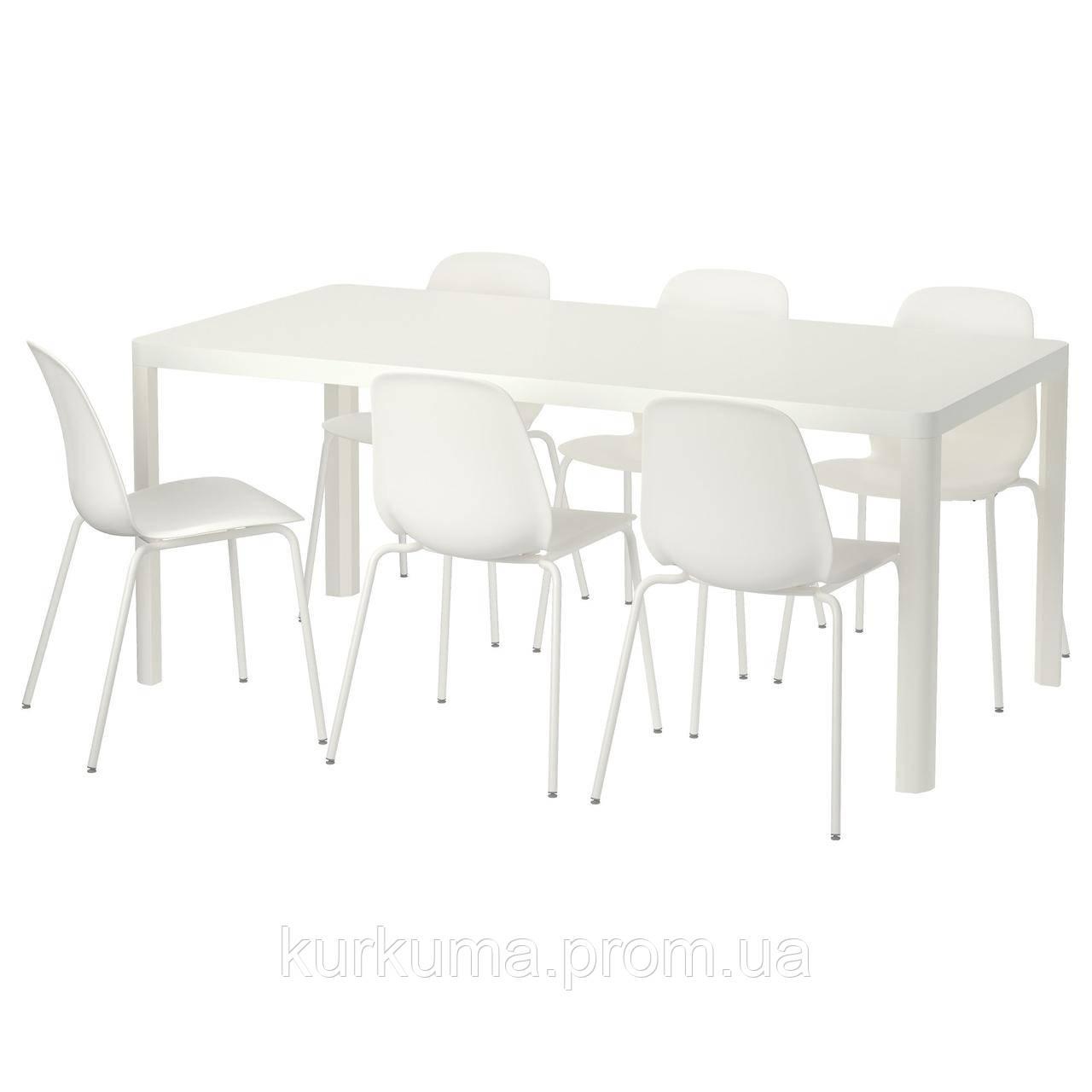 IKEA TINGBY/LEIFARNE Стол и 6 стульев, белый, белый  (392.211.90)