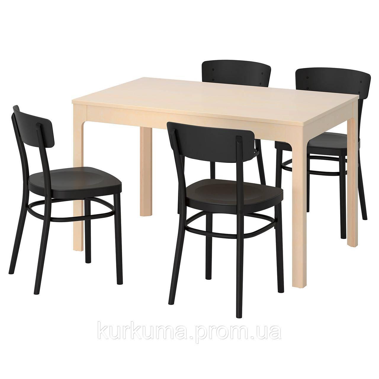 IKEA EKEDALEN/IDOLF Стол и 4 стула, береза, черная  (092.214.60)