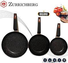 Набор посуды сковородки разные размеры Zurrichberg ZB 2001/2002/2003 мраморное покрытие 20/24/28 см Серый