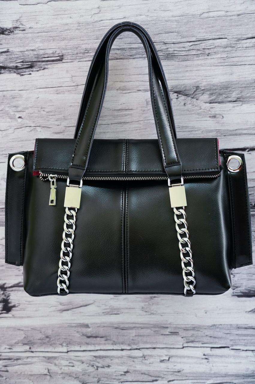 Перламутровая сумка из натуральной кожи 3329 black