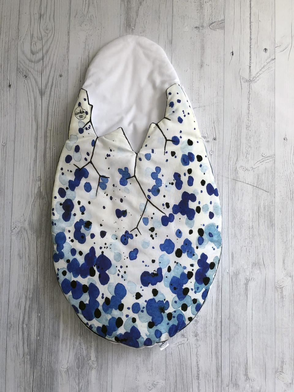 Конверт для новонародженого 0-3 міс Dino Egg Blue білий з синім