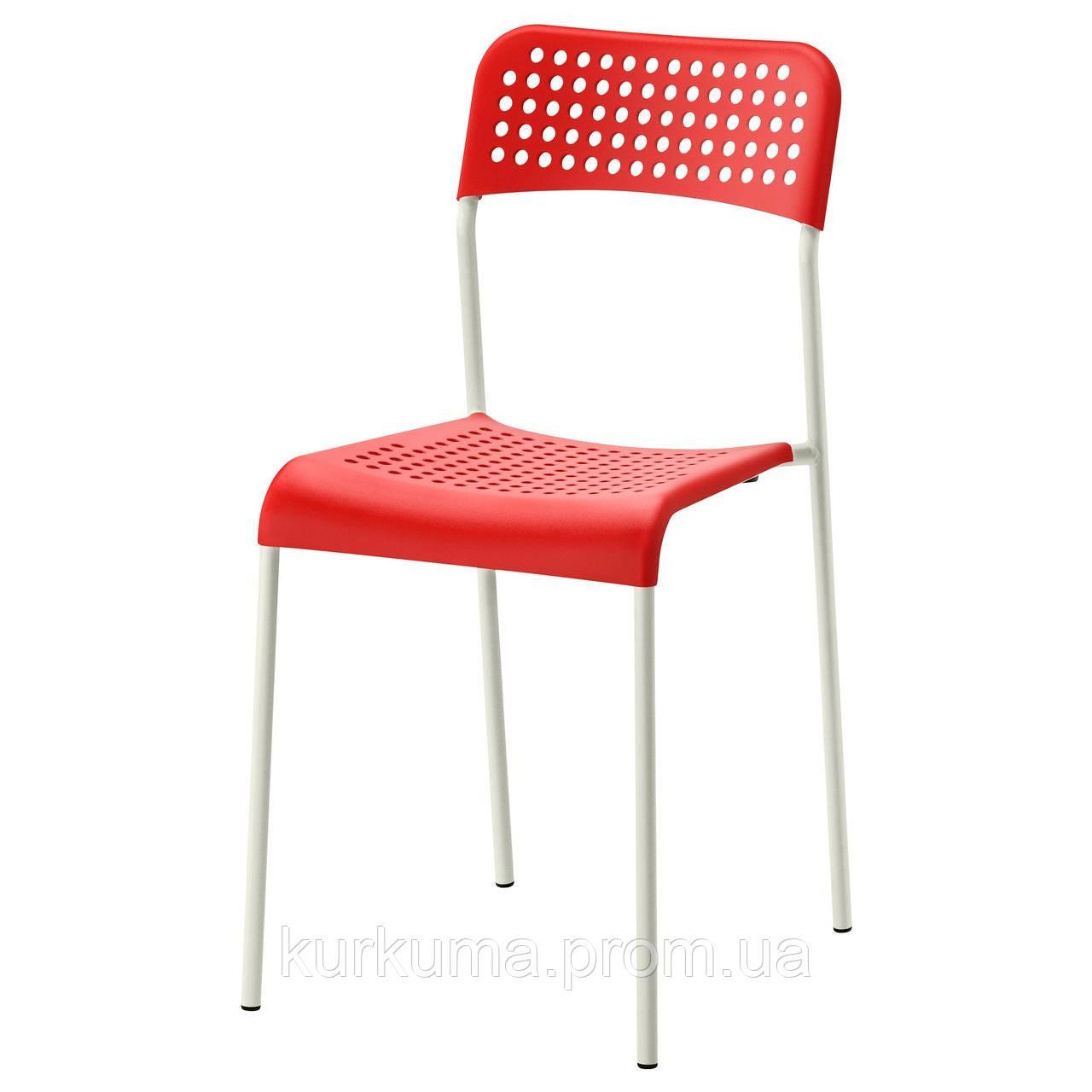 IKEA ADDE Стул, красный, белый  (902.191.84)