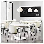IKEA LEIFARNE Стул с подлокотниками, белый, Дитмар черный  (591.977.21), фото 5