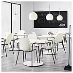 IKEA LEIFARNE Стул с подлокотниками, белый, Дитмар черный  (591.977.21), фото 6