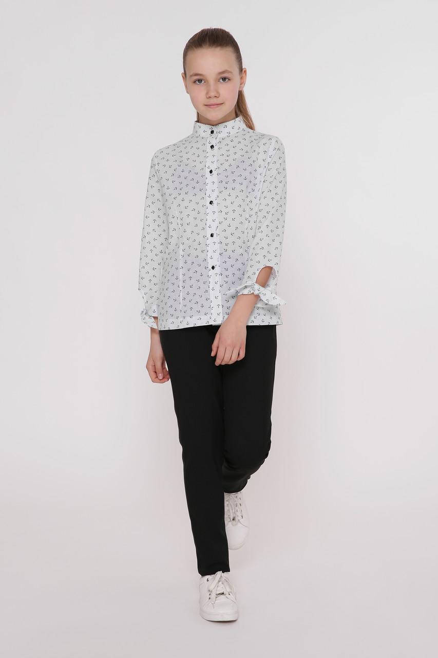 Рубашка детская Татьяна Филатова модель 186  белая с якорями