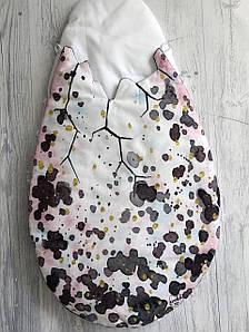 Конверт для новонародженого 0-3 міс Dino Egg Rose демі Білий з рожевим