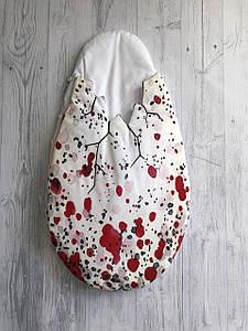 Конверт для новонароджених 0-3 міс Dino Egg Red демі білий з червоним