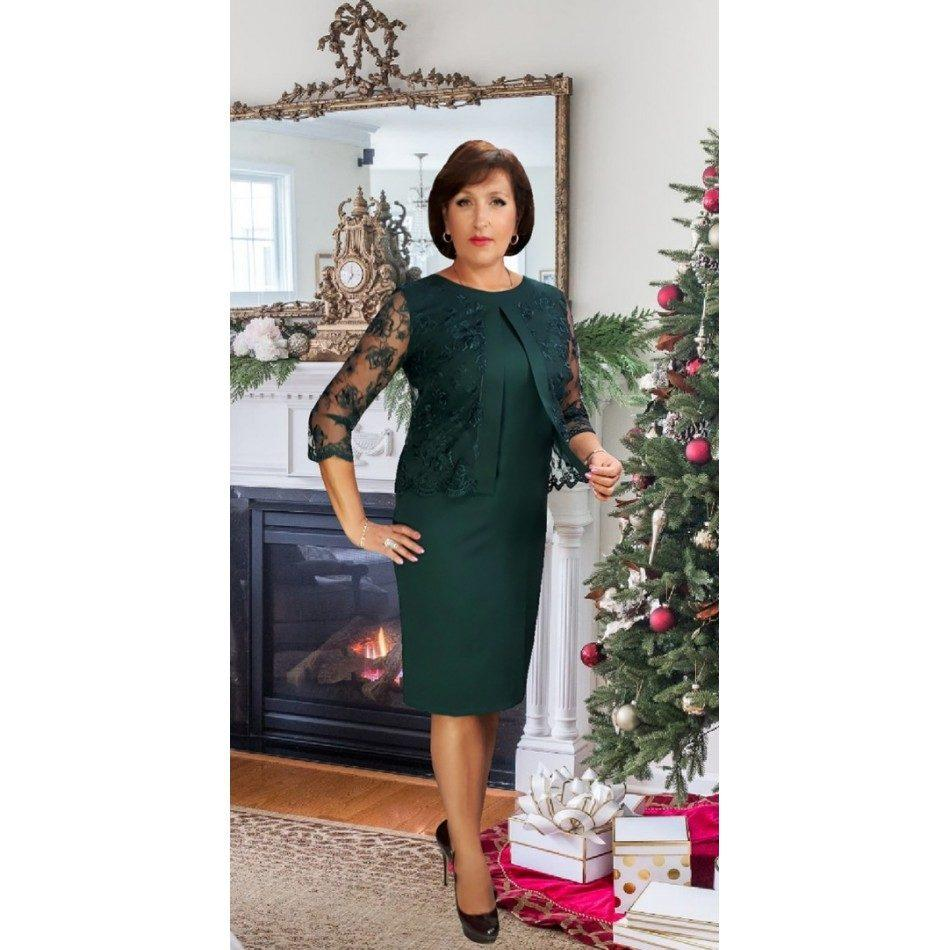 """Элегантное женское платье с имитацией пиджака бутылка, ткань """"Костюмная"""" Турция 50, 54 размер батал"""