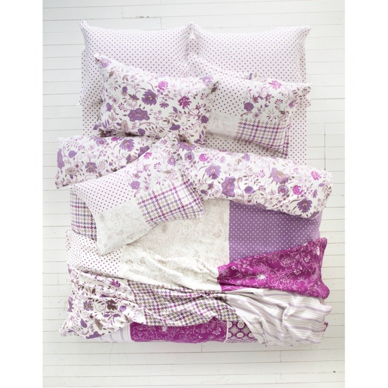 Комплект постельного белья панно Karaca Home Lienzo сиреневый