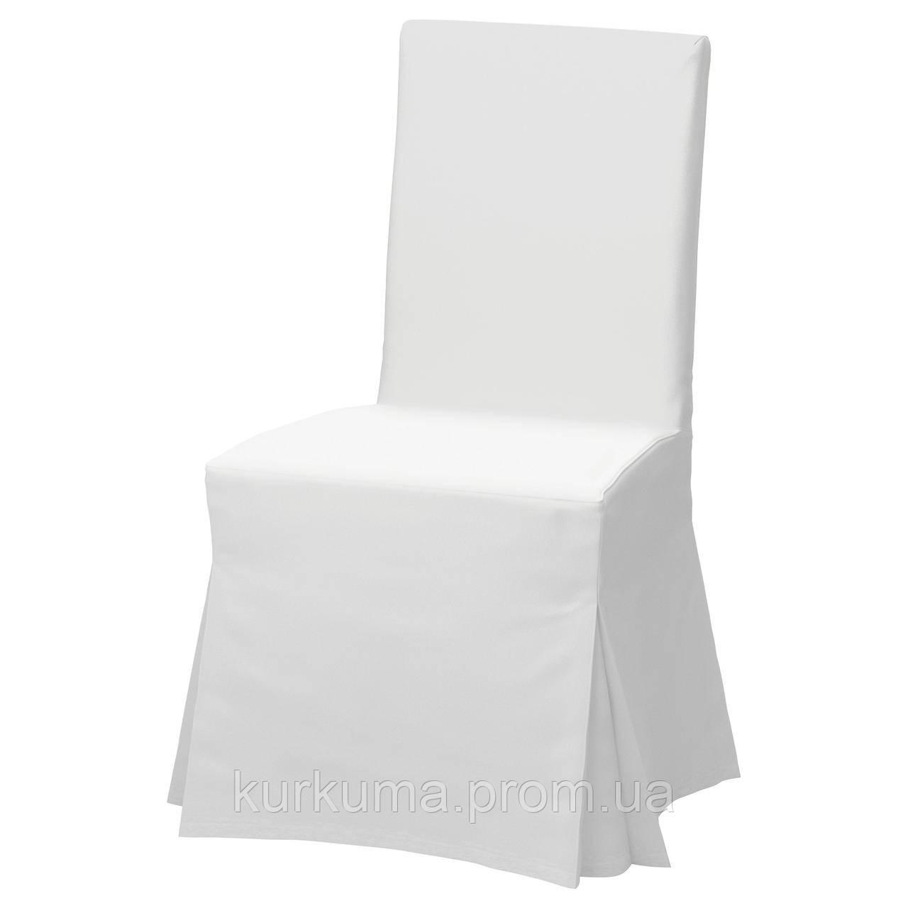 IKEA HENRIKSDAL Стул с длинным чехлом, коричневый, Блекинге белый  (092.208.42)