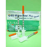 Шприц инсулиновый BD Micro- Fine Plus Demi U-100 0,3мл игла 0.3* 8,0мм (Микрофайн Деми) 100шт, фото 3