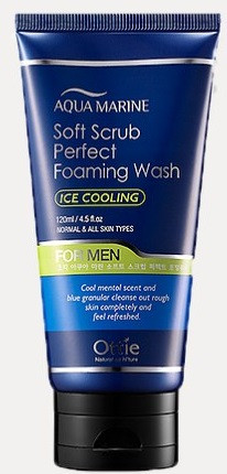 Акція -15% Освежающий пилинг-пенка для мужчин Ottie Aqua Marine Soft Scrub Perfect Foaming Wash - 120 мл