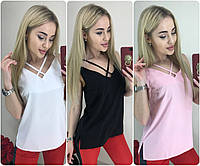 Женская блуза-майка с переплётом /разные цвета, 42-46, ft-1035/