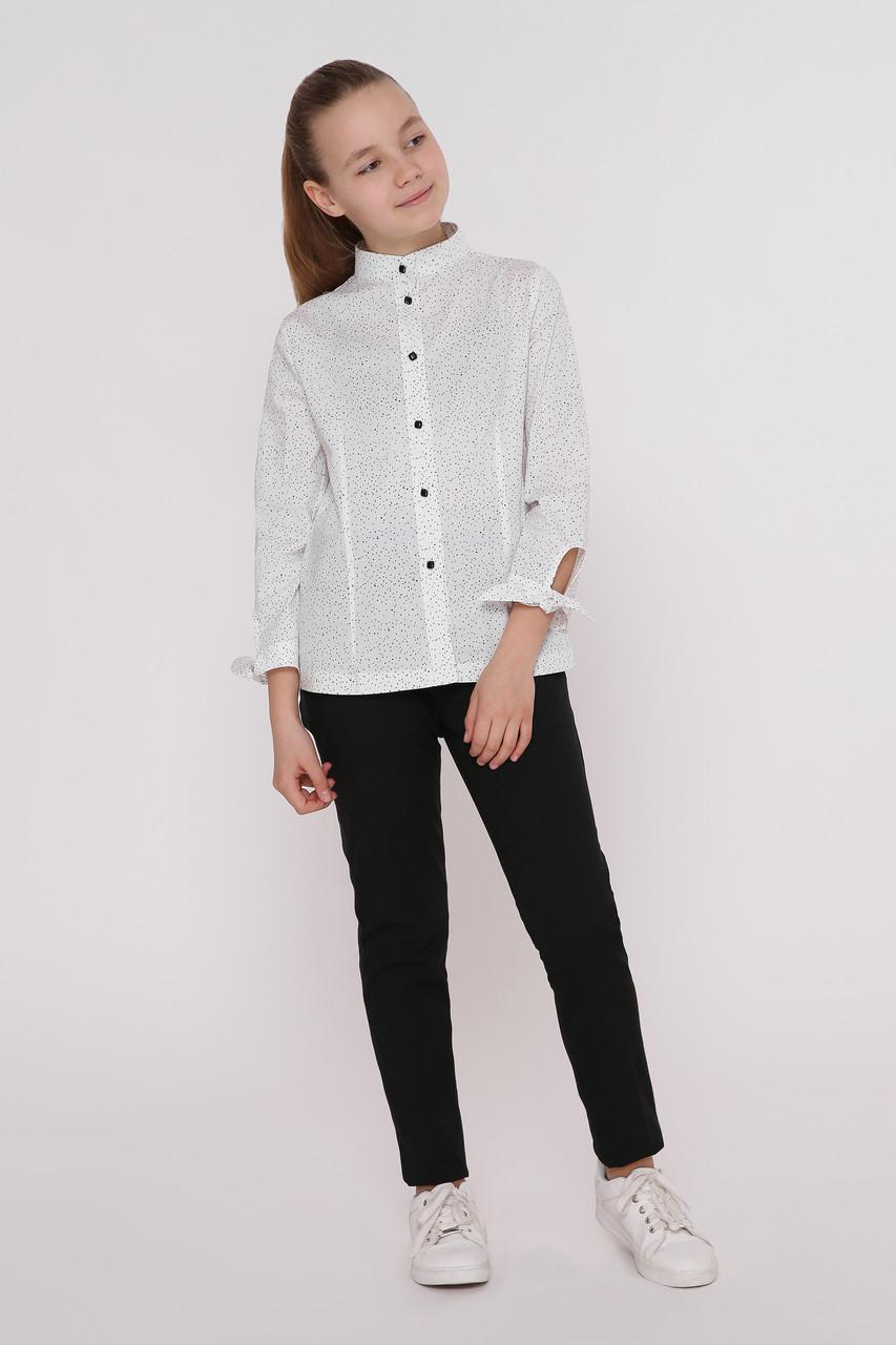 Рубашка детская Татьяна Филатова модель 186  белая  в точку
