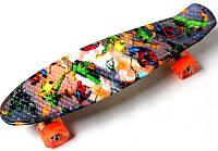 """Скейт Penny Board """"Heroes"""" Светящиеся колеса. (Пенни борд), фото 1"""