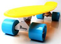 Скейт Penny Board Желтый цвет Голубые колеса (Пенни борд), фото 1